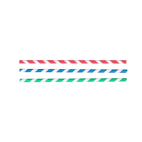 STRAW REGULAR PAPER BLUE & WHITE STRIPED 205MM (CT2500)
